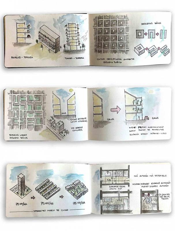 Esquemas y modelos residenciales, en diferentes escalas. Autor: Paco Belmar