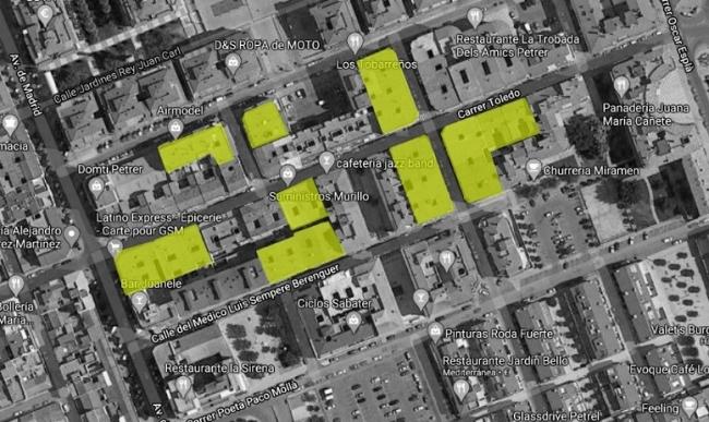 Zona centro Petrer. Detección y análisis de cubiertas comunitarias existentes. Fuente: Google Maps