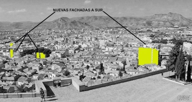 Detección y análisis de medianeras existentes a sur y este en edificios existentes consolidados. Fuente: revista El Valle de Elda