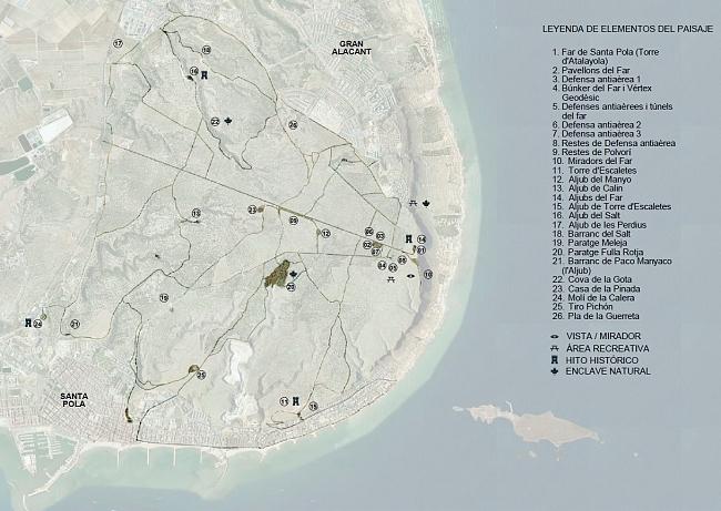 Plano de la sierra y Cabo de Santa Pola con la red de caminos recuperada desde proyecto (RAS)