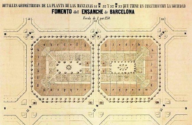Manzana del Ensanche de Barcelona 1863 Ildefonso Cerdá.