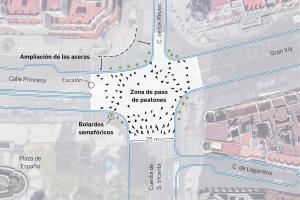 La reforma de plaza de España incluirá un paso de peatones transversal como el de Shibuya
