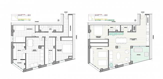 Planta de una vivienda tipo en un edificio de viviendas en la que se ha propuesto un cambio de distribución incorporando un espacio exterior antes inexistente. Autor: Óscar Romero.