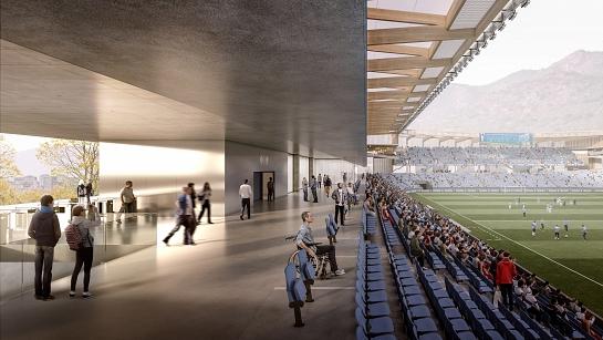 Modernización del estadio chileno San Carlos de Apoquindo . Las Condes . Region Metropolitana . Chile
