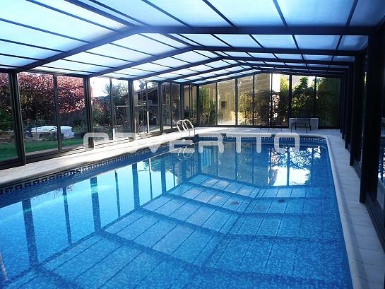 Cubierta de piscina telescópica de cristal